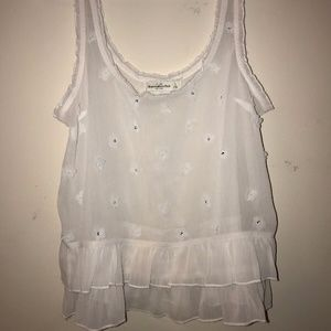 ABERCROMBIE & FITCH EMBELLISHED MESH TANK - S